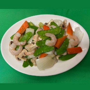 71. Fried Shrimps with Snow Peas and Mushroom
